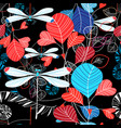 seamless pattern summer leaves and dragonfly vector image vector image