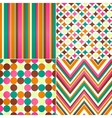 seamless stripes zig zag and polka dots background vector image vector image