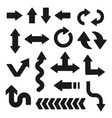 set black arrows isolated on white background vector image vector image