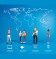 set of students with gadgets on map background vector image