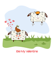 sheep lovers comic for Valentines day or wedding vector image