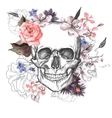 Skull and Flowers Day of The Dead vector image vector image