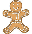 smiling gingerbread isolated on a white vector image