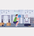 sporty man doing squats exercises with medicine vector image vector image