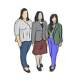 three business women with different shapes vector image