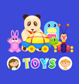 toys and kids boy and girl with fluffy panda vector image vector image
