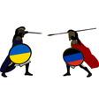 Ukrainian and pro Russian warriors vector image vector image
