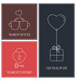valentine cards set vector image vector image