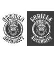 vintage ferocious gorilla king round emblem vector image