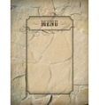 Vintage menu frame stone wall vector image vector image