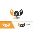 vinyl and people logo combination record vector image vector image