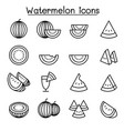watermelon icon set in thin line style vector image