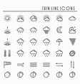 weather pack line icons set meteorology weather vector image vector image