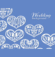 white lacy hearts wedding background vector image vector image
