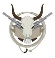 Wild west cow skull pistols ribbon lasso logo vector image vector image