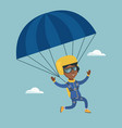 young african skydiver flying with a parachute vector image vector image