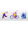 young people sport activity set man riding vector image vector image