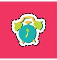 alarm clock stitched frame flat color sticker vector image vector image