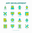 app development thin line icons set vector image vector image
