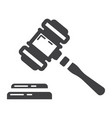 auction hammer glyph icon business and finance vector image
