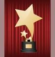 award gold made in form stars on pedestal vector image