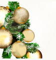 background with golden baubles and xmas tree vector image vector image
