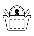 basket buy coin dollar outline vector image