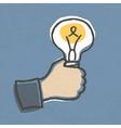 businessman hand with lightbulb vector image