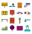 car parking icons doodle set vector image