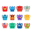 cartoon color different backpacks icon set vector image vector image