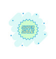 cartoon discount sticker icon in comic style sale vector image