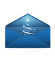 christmas blue envelope with stars and blizzard vector image
