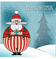 christmas card with funny fat santa vector image