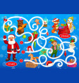 christmas labyrinth maze with fairytale characters vector image vector image