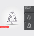christmas tree line icon with editable stroke vector image