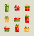 colorful christmas present boxes set vector image vector image