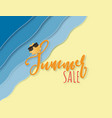 creative summer sale background with sea beach vector image vector image