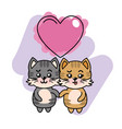 cute couple of cats with heart vector image vector image