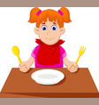 cute little girl cartoon waiting for breakfast vector image vector image