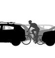 Cyclist in traffic vector image vector image