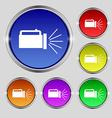 flashlight icon sign Round symbol on bright vector image