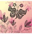Floral pattern background with beautiful butterfly vector image vector image