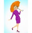 friendly woman holding an umbrella vector image vector image