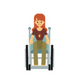 front view a disabled woman in a wheelchair vector image vector image