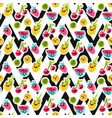 fruit characters seamless pattern vector image