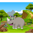 funny rhino cartoon in the jungle with landscape b vector image vector image