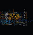 grand resort travel in florida text background vector image vector image