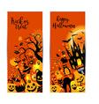 Halloween banners set on orange background vector image vector image