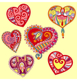 hand draw ornate heart shape set vector image