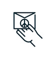 hand with envelope message peace and human rights vector image vector image